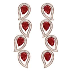 16.44 CTW Royalty Designer Ruby & VS Diamond Earrings 18K Rose Gold - REF-336Y4N - 39454