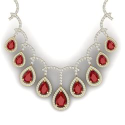 31.5 CTW Royalty Designer Ruby & VS Diamond Necklace 18K Yellow Gold - REF-872X8T - 39350