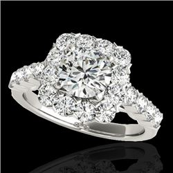 2.5 CTW H-SI/I Certified Diamond Solitaire Halo Ring 10K White Gold - REF-230W9H - 33343