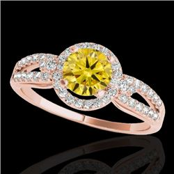 1.25 CTW Certified Si Fancy Intense Yellow Diamond Solitaire Halo Ring 10K Rose Gold - REF-161N8Y -