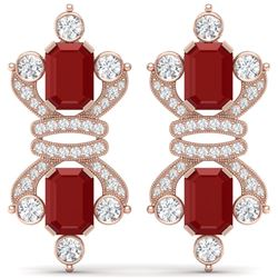 27.36 CTW Royalty Designer Ruby & VS Diamond Earrings 18K Rose Gold - REF-600Y2N - 38764
