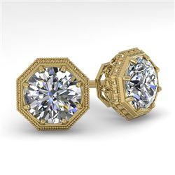 2.05 CTW Certified VS/SI Diamond Stud Earrings 18K Yellow Gold - REF-561N9Y - 35977