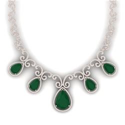 38.42 CTW Royalty Emerald & VS Diamond Necklace 18K Rose Gold - REF-1218R2K - 39526