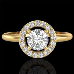 0.75 CTW Micro Pave Halo Solitaire VS/SI Diamond Certified Ring 18K Yellow Gold - REF-110R8K - 23289