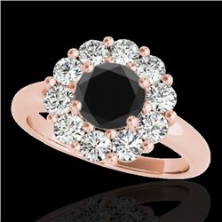 2.09 CTW Certified Vs Black Diamond Solitaire Halo Ring 10K Rose Gold - REF-109H3W - 34427