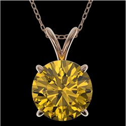 2 CTW Certified Intense Yellow SI Diamond Solitaire Necklace 10K Rose Gold - REF-416M2F - 33239