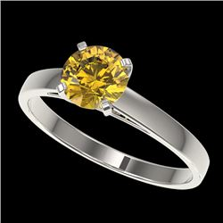 1 CTW Certified Intense Yellow SI Diamond Solitaire Engagement Ring 10K White Gold - REF-140X4T - 32