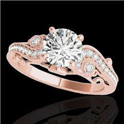 1.5 CTW H-SI/I Certified Diamond Solitaire Antique Ring 10K Rose Gold - REF-262K8R - 34802