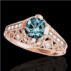 1.25 CTW SI Certified Blue Diamond Solitaire Antique Ring 10K Rose Gold - REF-167K3R - 34690