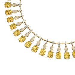 50.16 CTW Royalty Canary Citrine & VS Diamond Necklace 18K Yellow Gold - REF-927T3X - 39137