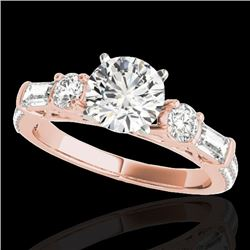 2 CTW H-SI/I Certified Diamond Pave Solitaire Ring 10K Rose Gold - REF-221W8H - 35472