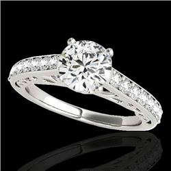 1.4 CTW H-SI/I Certified Diamond Solitaire Ring 10K White Gold - REF-161T8X - 35014