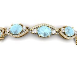 21.6 CTW Royalty Sky Topaz & VS Diamond Bracelet 18K Yellow Gold - REF-327Y3N - 38972