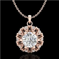 1.2 CTW VS/SI Diamond Art Deco Micro Pave Stud Necklace 18K Rose Gold - REF-220H2W - 36999