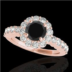 1.75 CTW Certified Vs Black Diamond Solitaire Halo Ring 10K Rose Gold - REF-86F2M - 34163