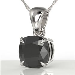 3 CTW Cushion Cut Black VS/SI Diamond Designer Necklace 18K White Gold - REF-77H3W - 21935