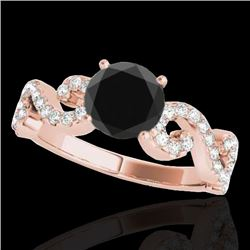 1.4 CTW Certified Vs Black Diamond Solitaire Ring 10K Rose Gold - REF-65K6R - 35245