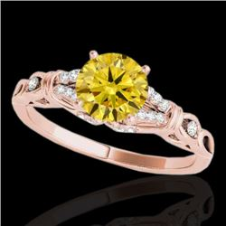 1.2 CTW Certified Si Fancy Intense Yellow Diamond Solitaire Ring 10K Rose Gold - REF-156M4F - 35258