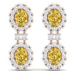 7.8 CTW Royalty Canary Citrine & VS Diamond Earrings 18K Rose Gold - REF-180Y2N - 38824