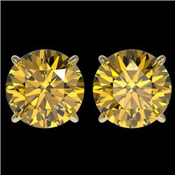 4 CTW Certified Intense Yellow SI Diamond Solitaire Stud Earrings 10K Yellow Gold - REF-824R2K - 331