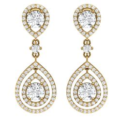 3.53 CTW Royalty Designer VS/SI Diamond Earrings 18K Yellow Gold - REF-418K2R - 39110