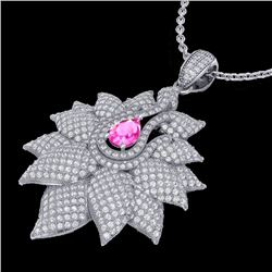 3 CTW Pink Sapphire & Micro Pave VS/SI Diamond Designer Necklace 18K White Gold - REF-257R3K - 22567