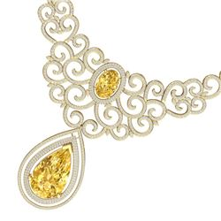 73.43 CTW Royalty Canary Citrine & VS Diamond Necklace 18K Yellow Gold - REF-1527N3Y - 39850