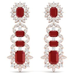 30.25 CTW Royalty Designer Ruby & VS Diamond Earrings 18K Rose Gold - REF-618M2F - 39409