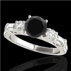 2.5 CTW Certified Vs Black Diamond Pave Solitaire Ring 10K White Gold - REF-138F8M - 35483