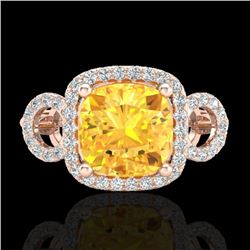 3.75 CTW Citrine & Micro VS/SI Diamond Certified Ring 14K Rose Gold - REF-54Y9N - 22999