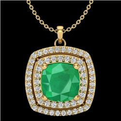 2.52 CTW Emerald & Micro Pave VS/SI Diamond Halo Necklace 18K Yellow Gold - REF-76Y4N - 20455