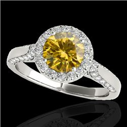 1.5 CTW Certified Si Fancy Intense Yellow Diamond Solitaire Halo Ring 10K White Gold - REF-176Y9N -