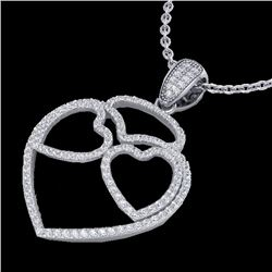 1.20 CTW Micro Pave VS/SI Diamond Designer Heart Necklace 14K White Gold - REF-110H9W - 22546