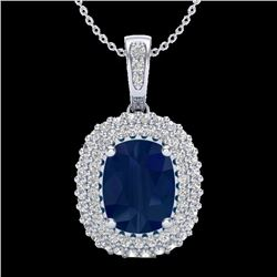 3.15 CTW Sapphire & Micro Pave VS/SI Diamond Halo Necklace 18K White Gold - REF-90F9M - 20419
