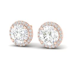 3.50 CTW VS/SI Diamond Certified Earrings 14K Rose Gold - REF-936M5F - 21488