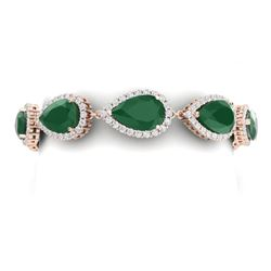 42 CTW Royalty Emerald & VS Diamond Bracelet 18K Rose Gold - REF-636W4H - 38857