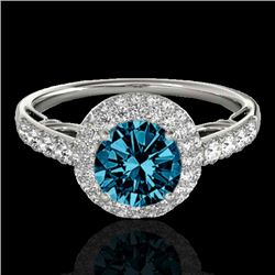1.65 CTW SI Certified Fancy Blue Diamond Solitaire Halo Ring 10K White Gold - REF-178X2T - 33702