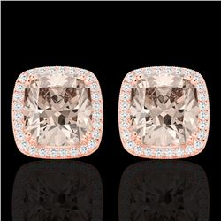 6 CTW Morganite & Micro Pave VS/SI Diamond Halo Earrings 14K Rose Gold - REF-106N2Y - 22807