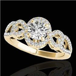 1.38 CTW H-SI/I Certified Diamond Solitaire Halo Ring 10K Yellow Gold - REF-174Y5N - 33920