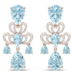 60.32 CTW Royalty Sky Topaz & VS Diamond Earrings 18K Rose Gold - REF-400N2Y - 38680