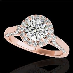 1.5 CTW H-SI/I Certified Diamond Solitaire Halo Ring 10K Rose Gold - REF-176M4F - 33563