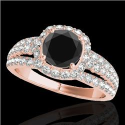 2 CTW Certified Vs Black Diamond Solitaire Halo Ring 10K Rose Gold - REF-102W2H - 34002