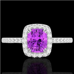 1.25 CTW Amethyst & Micro Pave VS/SI Diamond Certified Halo Ring 10K White Gold - REF-34Y5N - 22895