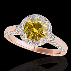 2.15 CTW Certified Si Fancy Intense Yellow Diamond Solitaire Halo Ring 10K Rose Gold - REF-318T2X -