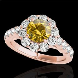 2.35 CTW Certified Si Fancy Intense Yellow Diamond Solitaire Halo Ring 10K Rose Gold - REF-218T2X -