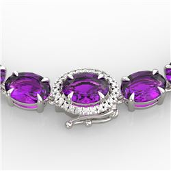 45.25 CTW Amethyst & VS/SI Diamond Tennis Micro Pave Halo Necklace 14K White Gold - REF-225N5Y - 402