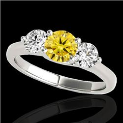 2 CTW Certified Si Fancy Intense Yellow Diamond 3 Stone Solitaire Ring 10K White Gold - REF-281T8X -