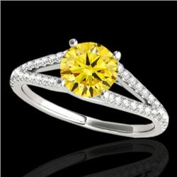1.25 CTW Certified Si Fancy Intense Yellow Diamond Solitaire Ring 10K White Gold - REF-161M8F - 3530