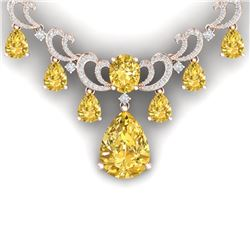 36.50 CTW Royalty Canary Citrine & VS Diamond Necklace 18K Rose Gold - REF-872R8K - 38668