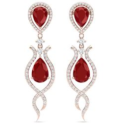 16.57 CTW Royalty Designer Ruby & VS Diamond Earrings 18K Rose Gold - REF-345W5H - 39514